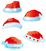 Set of santa hats — Stock Vector