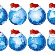 Set of globes with christmas decoration — Stock Vector