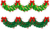 Two vector hristmas garlands (semicircle) — Stock Vector