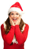 Surprised beautiful woman in santa hat — Stock Photo