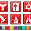 Stock Vector: Religion icons,each color icon is set on different layer