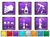 Wine icons,each icon is set on a different layer — Stock Vector