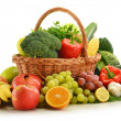 composition with vegetables and fruits in wicker basket isolated — Stock Photo #7604806