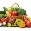composition with vegetables and fruits in wicker basket isolated — Stock Photo #7605016