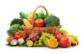 Composition with vegetables and fruits in wicker basket isolated — Foto Stock