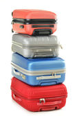 Luggage consisting of polycarbonate suitcases isolated on white — Stock Photo
