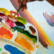 Asian hand painter painting water color picture — Stock Photo #7184288