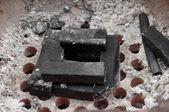 Coal stack in stove — Stock Photo