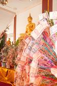 Donation money in thai temple — Stock Photo
