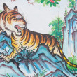 Royalty-Free Stock Photo: Tiger painting on wall in chinese temple