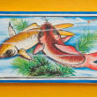 Stock Photo: Chinese koi fish painting on wall in chinese temple