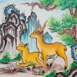 Chinese mountain deer painting on wall in chinese temple — Stock Photo