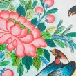 Chinese birds painting on wall in chinese temple — Stok fotoğraf