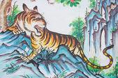 Kaplan boyama çince tapınak duvarındaki — Stok fotoğraf