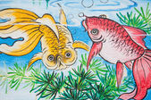 Chinese gold fish painting on wall in chinese temple — Photo