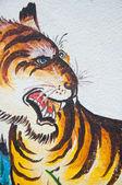 Peinture chinoise tigre sur mur de temple chinois — Photo