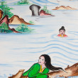 Chinese flood victims painting on wall in chinese temple — Stock Photo #7830130