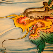 Stock Photo: Chinese dragon painting on wall in chinese temple