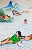 Chinese flood victims painting on wall in chinese temple — Stock Photo