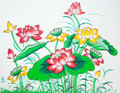 Chinese lotus painting on wall in chinese temple — Stock Photo
