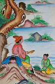 Chinese painting on wall in chinese temple — Stock Photo