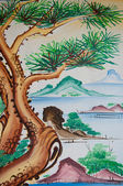 Chinese pine tree painting on wall in chinese temple — Stock Photo