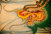 Chinese dragon painting on wall in chinese temple — Stock Photo