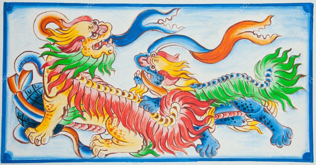 Peinture dragon chinois sur mur de temple chinois photographie ngarare 7830160 - Photo dragon chinois ...