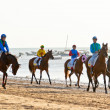 Stock Photo: Horse race on Sanlucar of Barrameda, Spain, August 2011