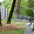 Landscaper operating gas Leaf Blower — Stock Photo