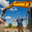 Demolition Expert pointing OK hand gesture — Stock Photo