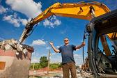 Demolition Expert pointing OK hand gesture — Stock Photo