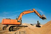 Excavators at a Sand Quarry — Stock Photo
