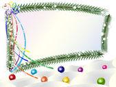 Новогодние шары на снег рамки — Cтоковый вектор