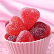Fruit jellies candy hearts — Stock Photo