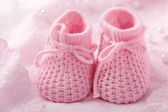 Pink baby booties — Stock Photo