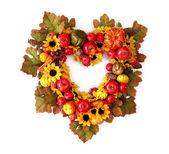Autumn heart wreath — Stock Photo