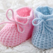 Blue and pink baby booties — Stock Photo #6981329
