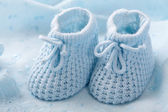 Blue baby booties — Stock Photo