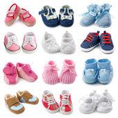 Coleção de sapatos de bebê — Foto Stock