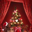 Christmas tree with teddy bear — Stock Photo