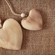 Two wooden hearts - Stock Photo