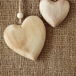 Two wooden hearts — Stock Photo