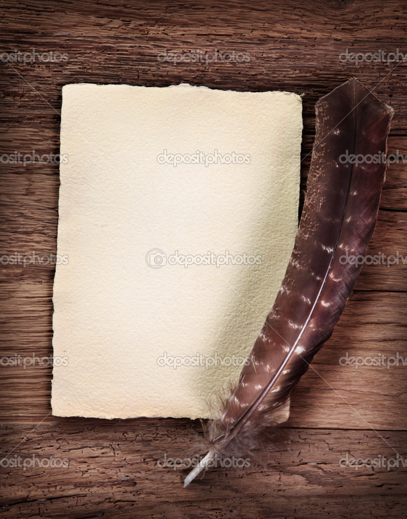 Old parchment and quill pen — Stock Photo © egal #7596105