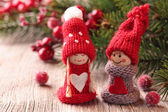 Two little santa decoration — Foto Stock