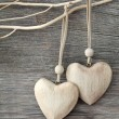 Stock Photo: Two wooden hearts