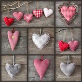 Colagem de fotos com corações — Foto Stock