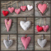 Collage of photos with hearts — Stockfoto