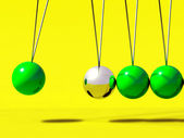 3d Newtons cradle green ball — Stock Photo