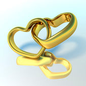 Wedding rings in the shape of hearts — Stock Photo